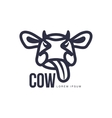 Funny front view cow head logo template vector image