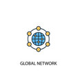 global network concept 2 colored line icon simple vector image