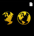 gold globe icon glossy earth business industry vector image