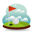 golf hole flag and landscape vector image vector image