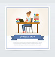 happy young woman character sitting at the table vector image