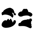 Hats set silhouettes vector image