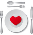 Heart on plate vector image vector image