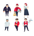 hotel staff security and bellboy maid and chef vector image