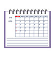 isolated april page 2019 planner calendar vector image