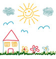 kids drawing of sunny day house vector image vector image