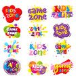 kids zone banner set isolated vector image