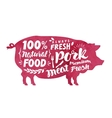 Meat fresh pork label Silhouette pig vector image vector image