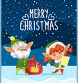 merry christmas greeting with holiday from elves vector image vector image