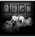 motorbike and guitar on the brick wall vector image vector image