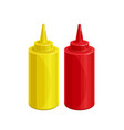 mustard and ketchup outline icon vector image vector image