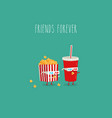 popcorn and cola watch movie in 3d vector image