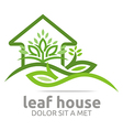 real estate leaf house design icon vector image vector image