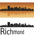 Richmond skyline in orange background vector image vector image