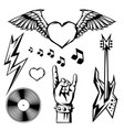 rock and roll music objects vector image vector image