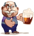 Senior man with beer vector image vector image