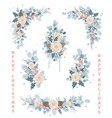 set christmas florals blooming branches vector image