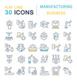 set line icons manufacturing business vector image vector image