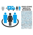 Society Icon with 1000 Medical Business Pictograms vector image vector image