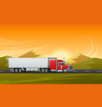 trailer truck long vehicle flat design vector image vector image