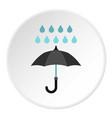 umbrella and rain icon circle vector image vector image