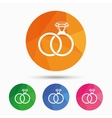 Wedding rings sign icon Engagement symbol vector image