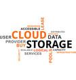 word cloud - cloud storage vector image vector image