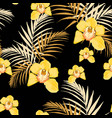 yellow orchids exotic tropical leaves vector image vector image
