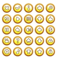 Yellow round game menu buttons vector image
