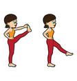 yoga asana set standing leg forward extension vector image
