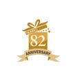 82 years gift box ribbon anniversary vector image vector image