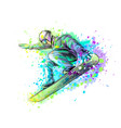 abstract snowboarder from a splash watercolor vector image vector image