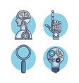 artificial intelligence set icons vector image