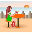 Beautiful girl on the beach cafe vector image vector image