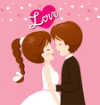 Bride And Groom In Wedding Clothing Will Kiss vector image vector image