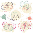 bright colorful butterflies icon set vector image