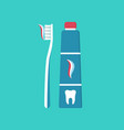 brush and toothpaste for tooth toothbrush with vector image
