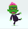 cartoon funny green zombie vector image