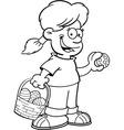 Cartoon Girl on an Easter Egg Hunt vector image vector image