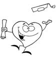 Cartoon heart graduate vector image vector image