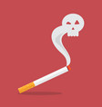 cigarette with a smoke formed skull dead vector image vector image