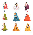 collection people sitting under plaids enjoying vector image vector image