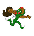 comic cartoon swamp monster carrying girl in vector image vector image