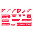 coming soon promo banners stickers and tag labels vector image