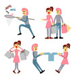 couple of young people shopping young woman with vector image vector image