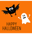 Cute cartoon bat and ghost Happy Halloween card vector image vector image