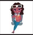 cute girl with popcorn and 3d glasses vector image vector image