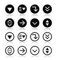 Drop down menu round icons set vector image vector image