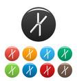 farm scissors icons set color vector image vector image