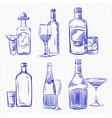 hand drawn popular drinks - ballpoint pen sketch vector image vector image